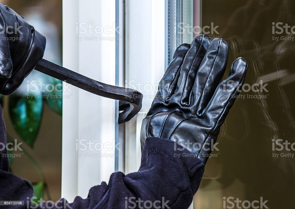 Burglary into a house stock photo