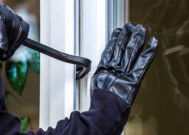 Burglary into a house stock photo