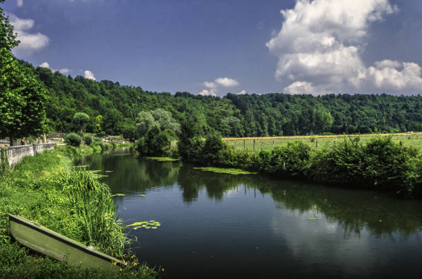 burgundy france canal river navigable waterway summer landscape stock photo