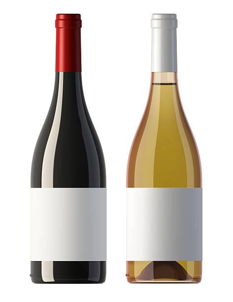 Bordeaux forme rouge et blanc bouteilles de vin avec étiquettes vierges - Photo