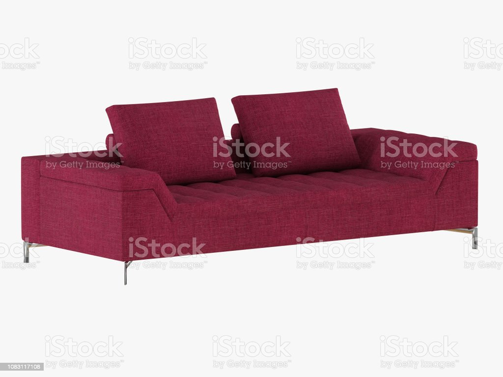 Admirable Burgundy Sofa With Pillows On A White Background Stock Photo Ibusinesslaw Wood Chair Design Ideas Ibusinesslaworg