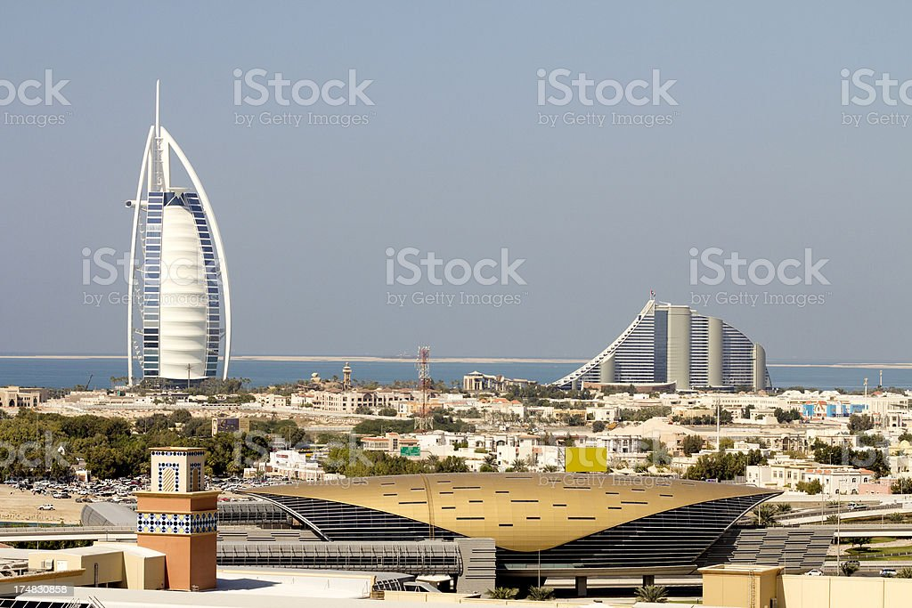 Burh Al Arab and Jumeirah Beach Hotel in Dubai stock photo