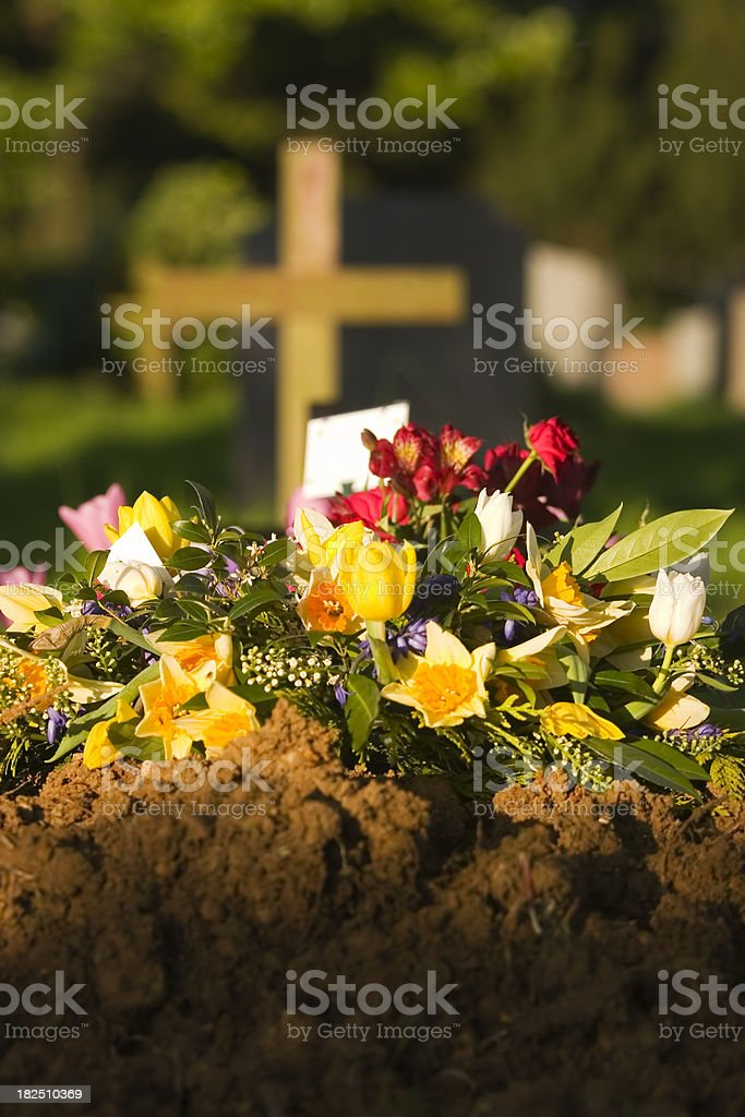 Burial & Flowers royalty-free stock photo