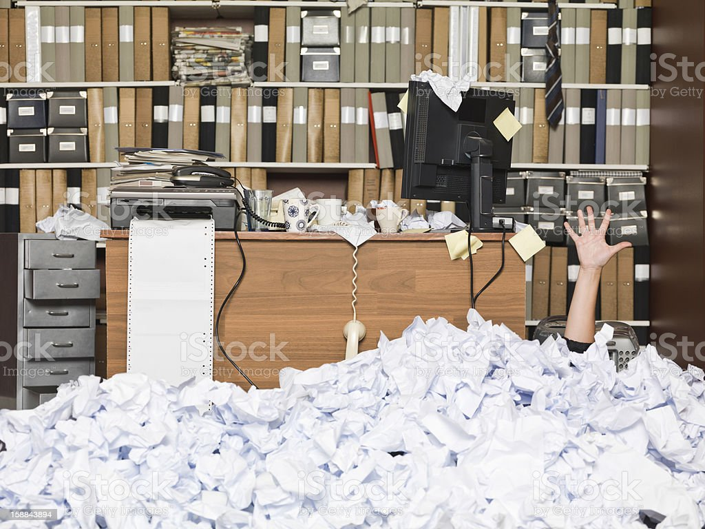 Buried Businesswoman stock photo