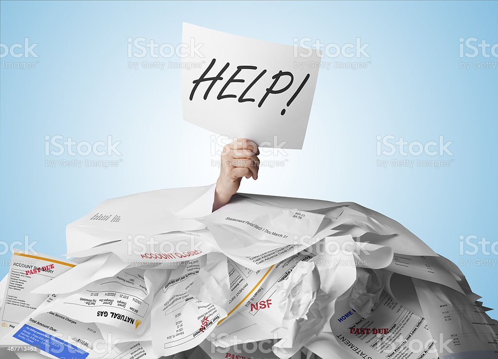 Buried in Debt stock photo