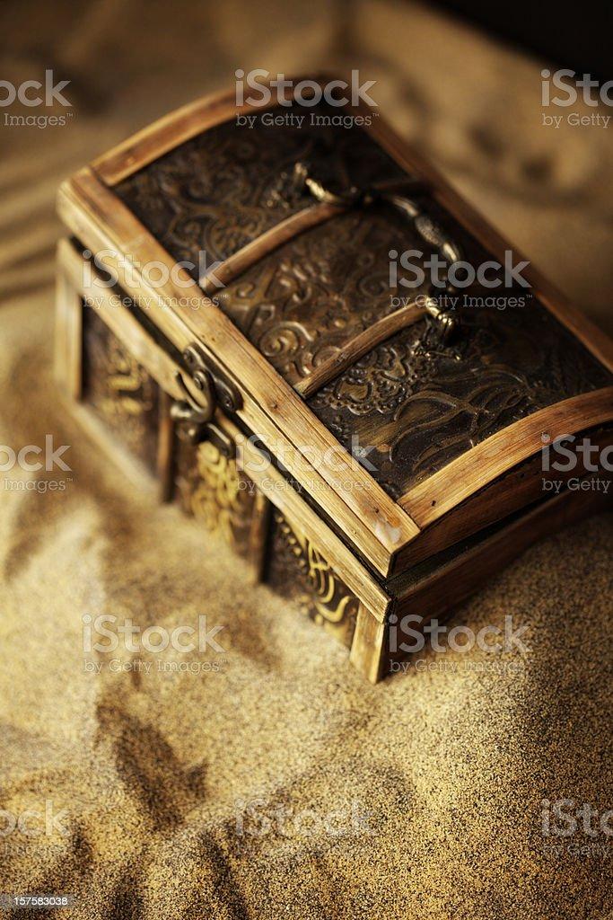 Buried Pirates Treasure Chest stock photo