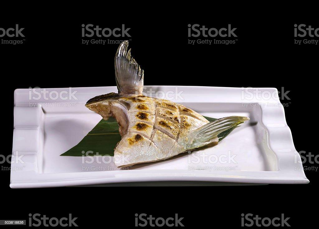 BuriKama shioyaki teriyaki , japanese grilled fish stock photo