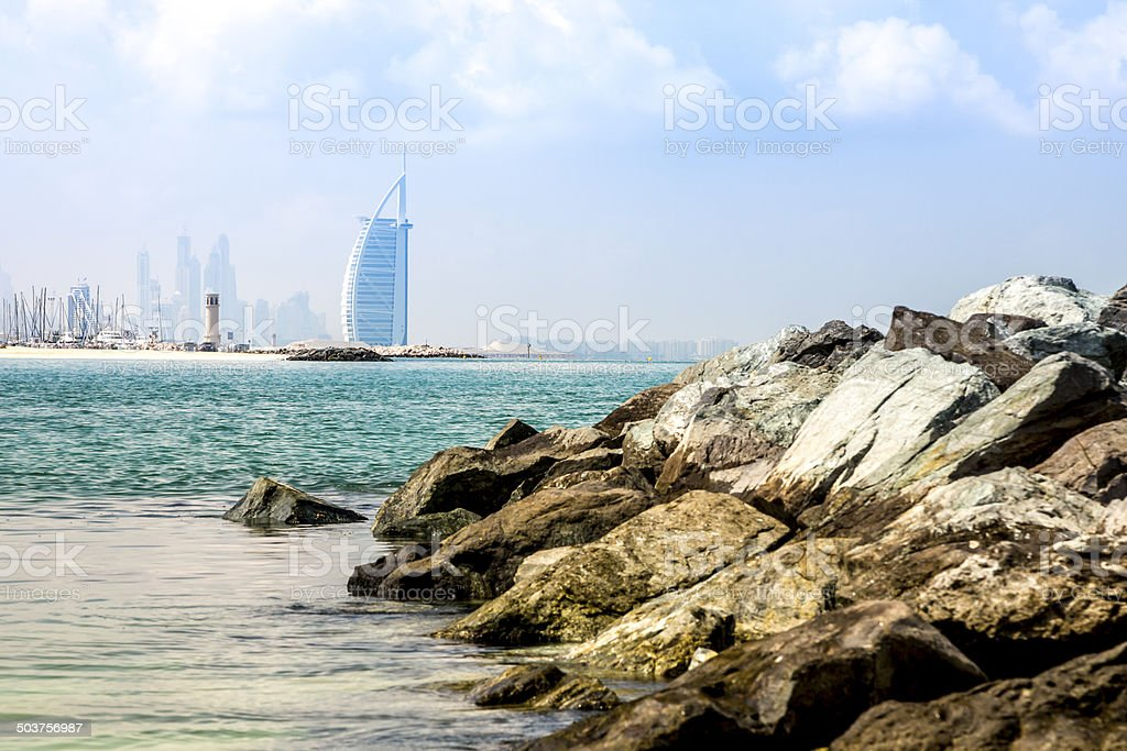 Burj Al Arab, a luxury hotel in Dubai, UAE stock photo