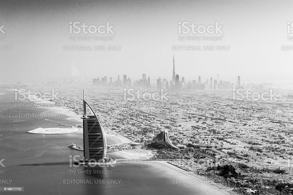 Burj Al Arab aerial view black and white stock photo