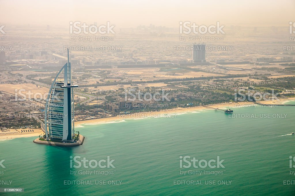 Burj Al Arab and Jumeirah Beach Hotel aerial view stock photo