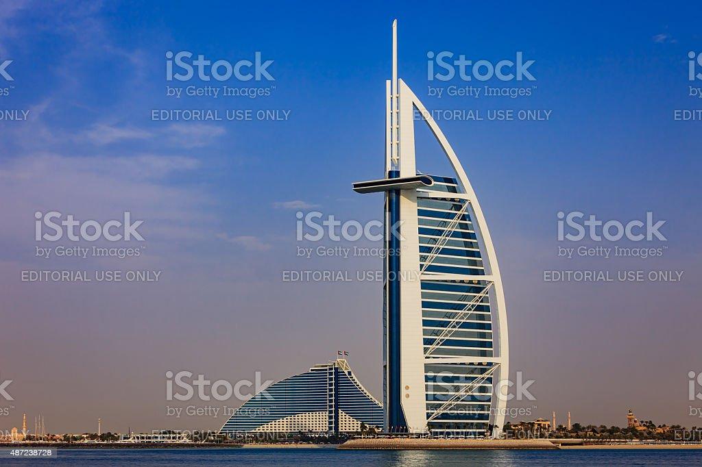 Burj Al Arab and Jumeirah Beach Hotels, Dubai UAE stock photo