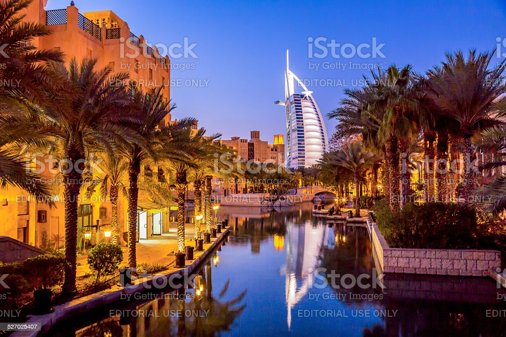 Burj Al Arab at dusk, Dubai, UAE stock photo