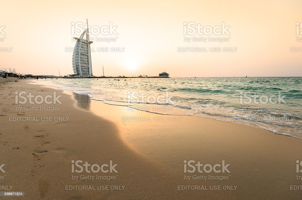 burj al arab defocus view at dusk stock photo