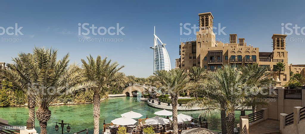 Burj Al Arab Dubai wind towers and luxury resort hotel royalty-free stock photo