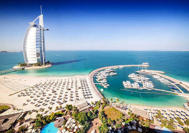 Burj Al Arab Hotel and a marina, Dubai stock photo