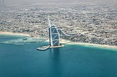 Dubai: May 2019: Beautiful view of Burj Al Arab hotel and the buildings of Dubai.
