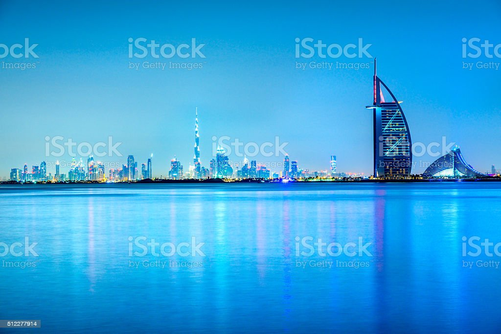 Burj Al Arab Hotel with Dubai Skyline, Dubai stock photo
