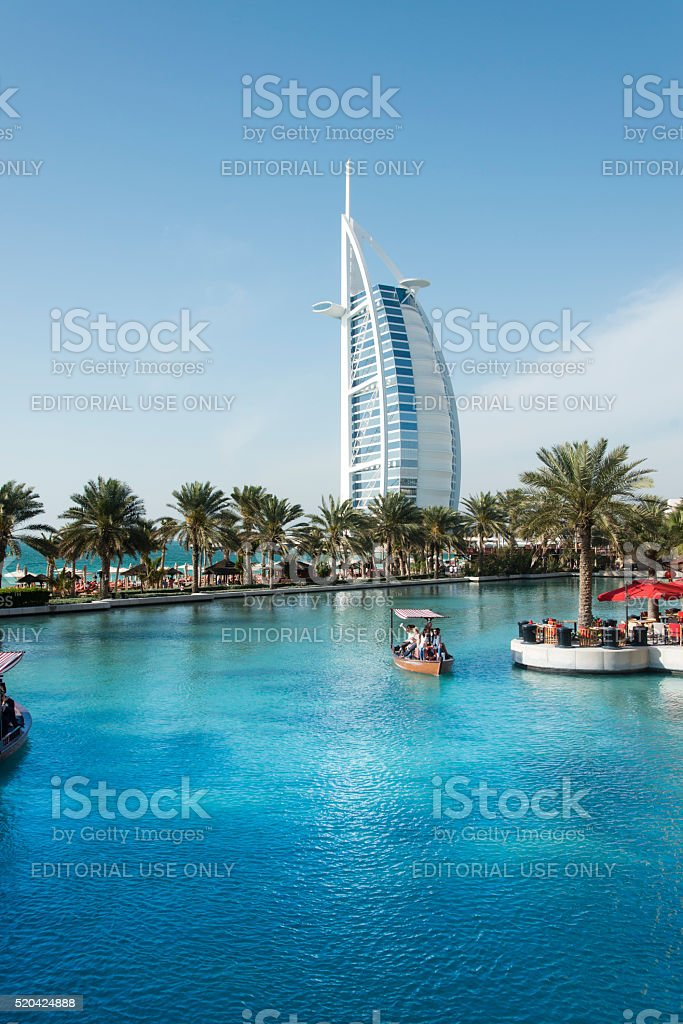 Burj Al Arab seen from Madinat Jumeirah district stock photo