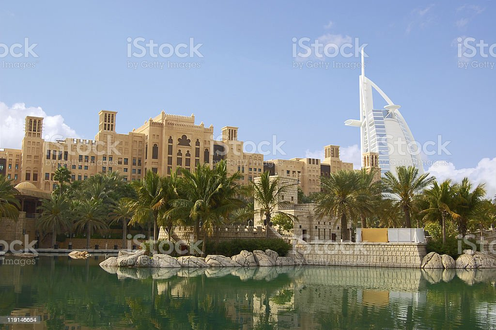 Burj Al Arab viewed from the Madinat Jumeirah stock photo