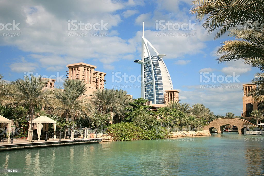 Burj Arab view from Madinat Jumeirah stock photo