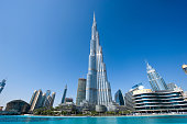 Dubai, United Arab Emirates - 02 Januari, 2018: The Burj Khalifa in the center of Dubai is the tallest building in the world with 828 meters high.
