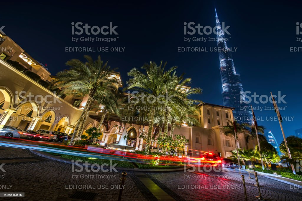 Burj Khalifa from Souk Al Bahar stock photo