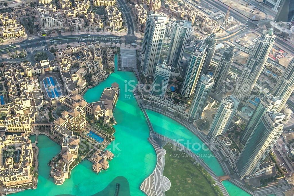 Burj Khalifa Lake aerial stock photo