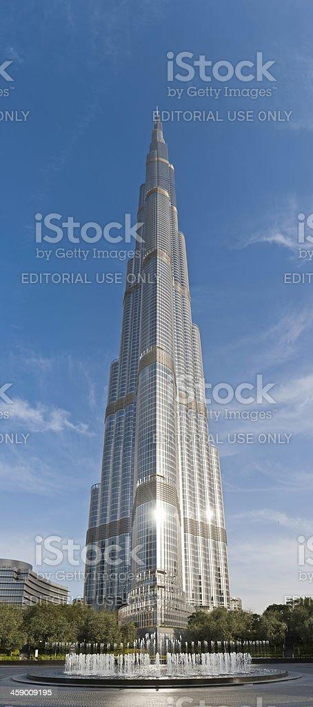Burj Khalifa skyscraper glistening in sunlight Dubai UAE royalty-free stock photo