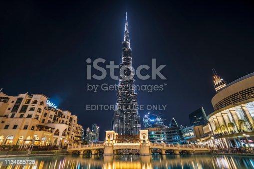 Dubai ,United Arab Emirates - January 06,2018: Burj Khalifa skyscraper in the night, Dubai. Burj Khalifa is the tallest skyscraper in the world standing at 829.8m in Dubai