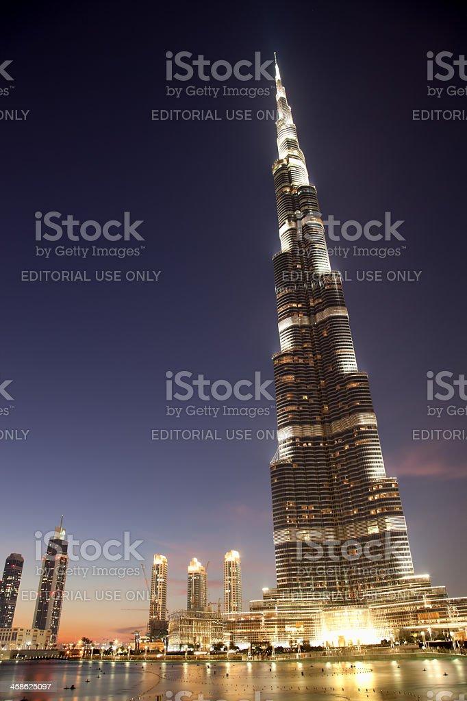 Burj Khalifa, the world's tallest building at sunset, Dubai royalty-free stock photo