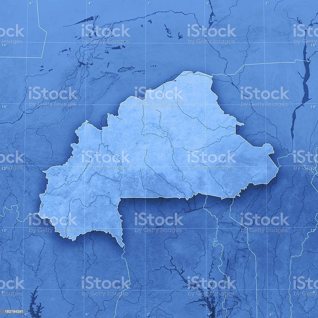 Burkina Faso Topographic Map royalty-free stock photo
