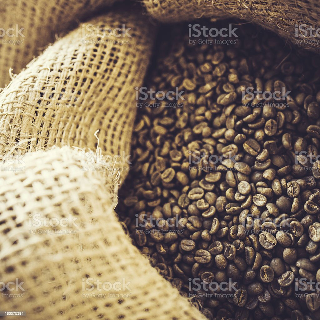 Burlap Bags of Green Coffee Beans royalty-free stock photo
