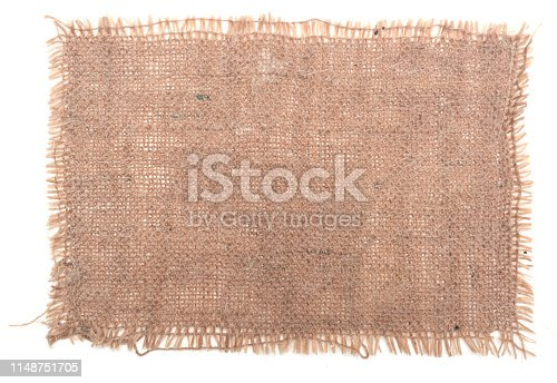 Burlap canvas isolated on white background