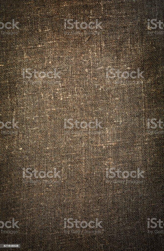 Burlap close-up, natural coarse cloth. stock photo