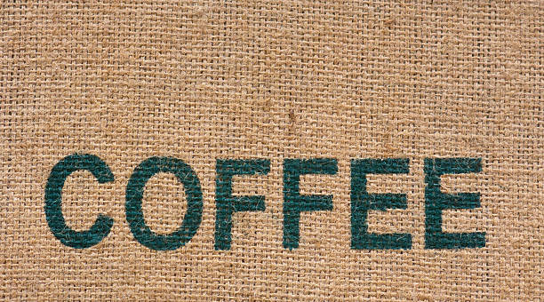 burlap coffee bag - food logo stock photos and pictures