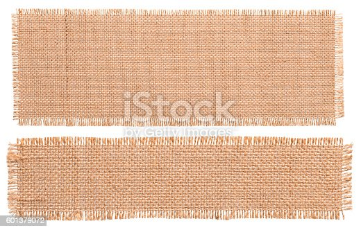 Burlap Fabric Patch Piece, Rustic Hessian Sack Cloth, Torn Pieces Isolated over White Background