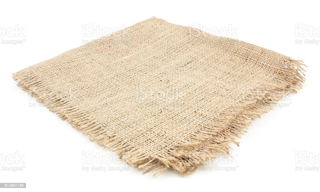 burlap hessian sacking isolated on white background stock photo