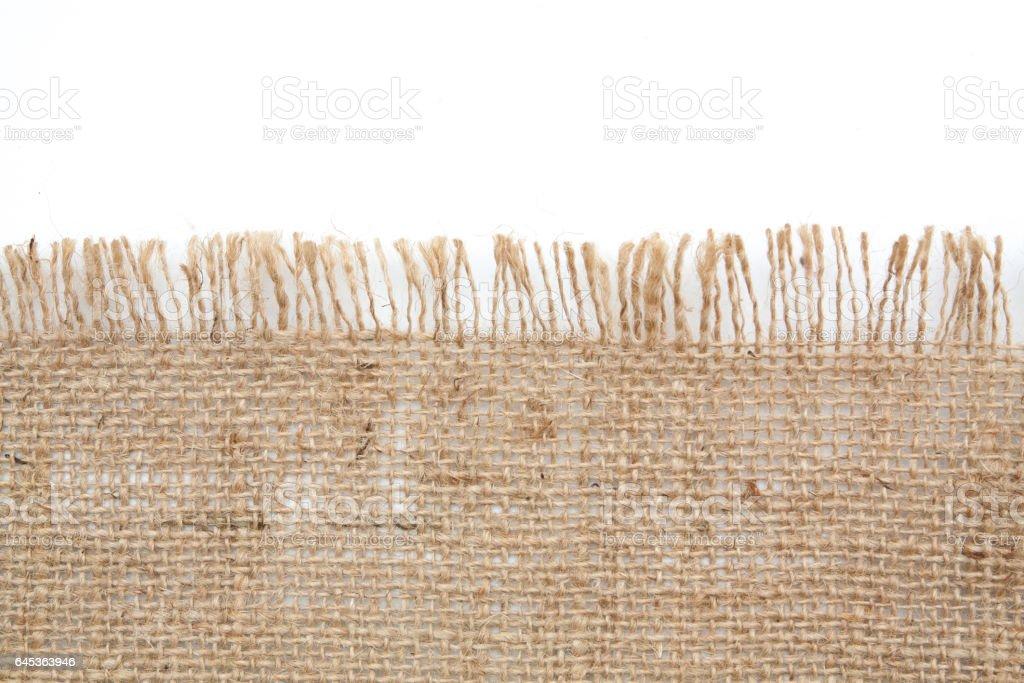 burlap hessian sacking isolated on white background stock photo