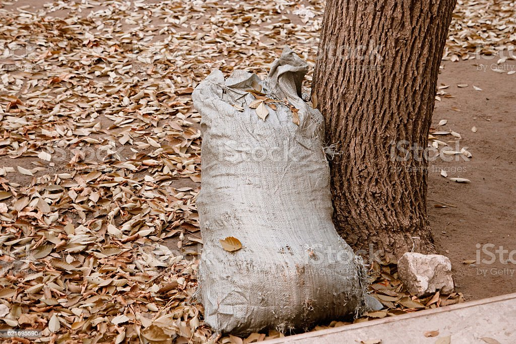 Burlap lag full of garbage stock photo