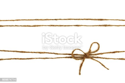 istock Burlap rope bow isolated on white background 859874714