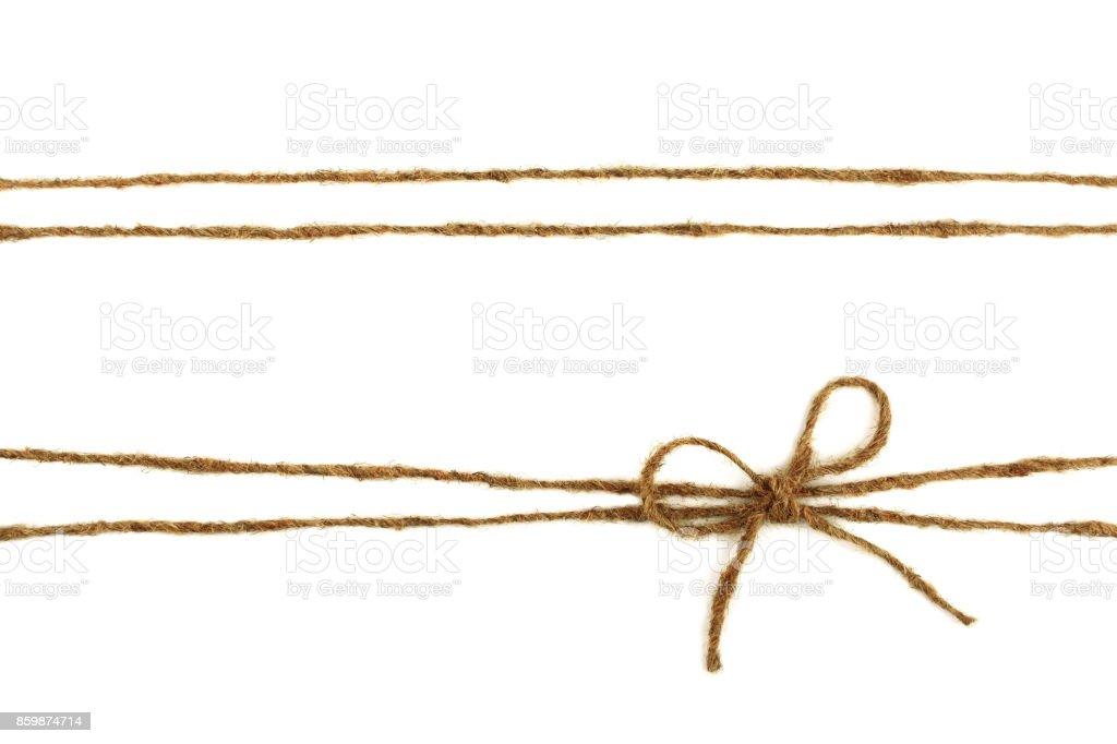 Burlap rope bow isolated on white background stock photo