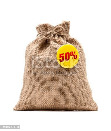 Burlap sack and 50% Discount isolated on white