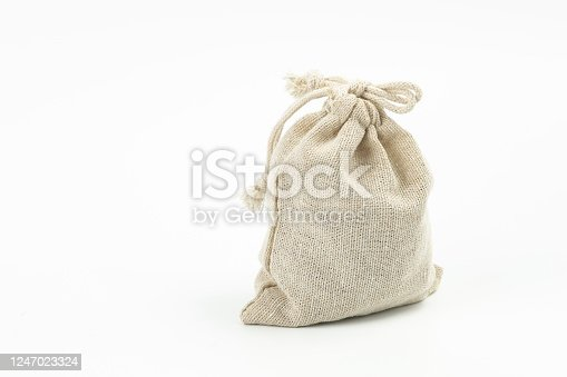 A Burlap Sack Goods on White Background