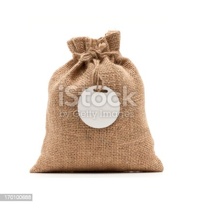 istock Burlap sack isolated on white background 170100688