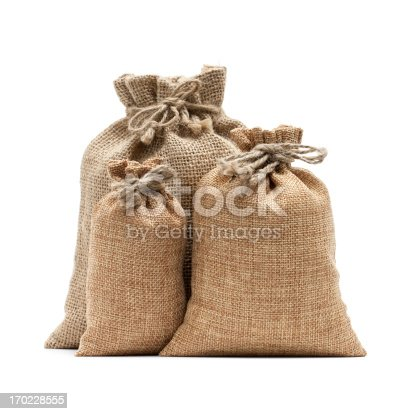 istock Burlap sack isolated on white background 170228555