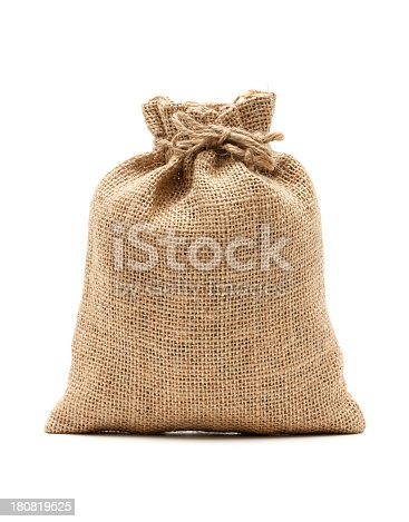 istock Burlap sack isolated on white background 180819525