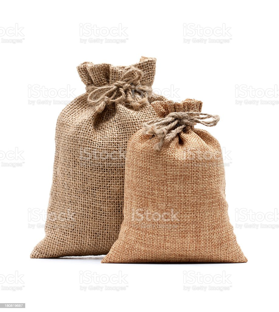Burlap sack isolated on white background royalty-free stock photo