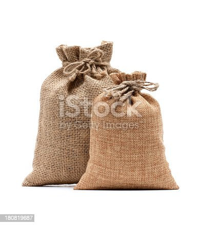 istock Burlap sack isolated on white background 180819687