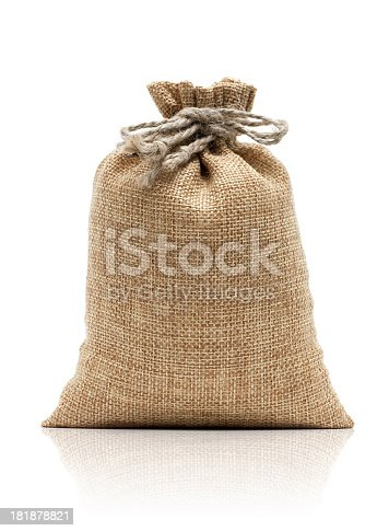 istock Burlap sack isolated on white background 181878821