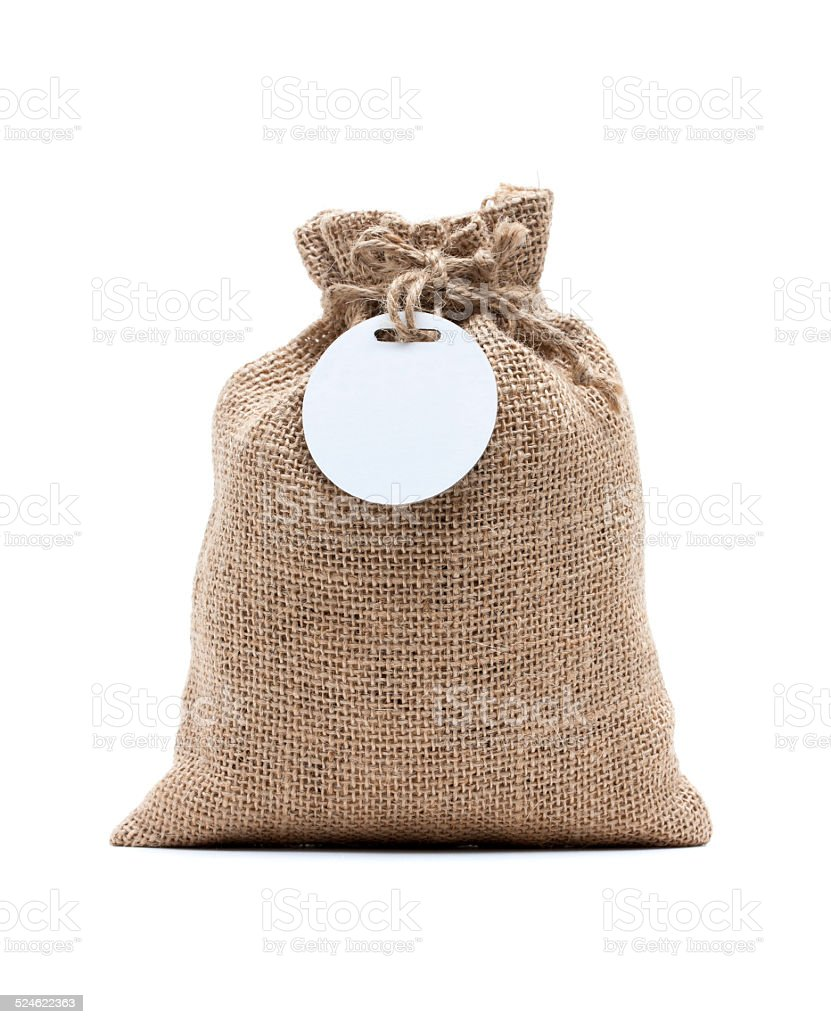 Burlap sack isolated on white background stock photo